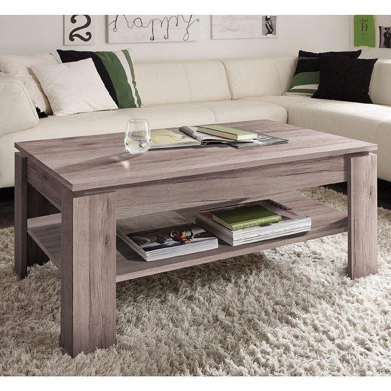 couchtisch beistelltisch eiche san remo mit ablage wohnzimmer holztisch 110 cm ebay. Black Bedroom Furniture Sets. Home Design Ideas