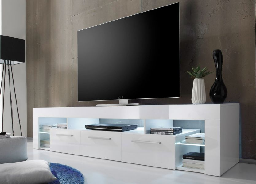 tv lowboard tv tisch in weiss hochglanz count fernsehtisch hifi m bel mit 200 cm ebay. Black Bedroom Furniture Sets. Home Design Ideas