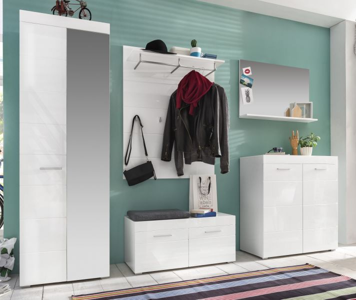 garderoben set hochglanz wei flurgarderobe 5 tlg mit schrank flur m bel amanda ebay. Black Bedroom Furniture Sets. Home Design Ideas