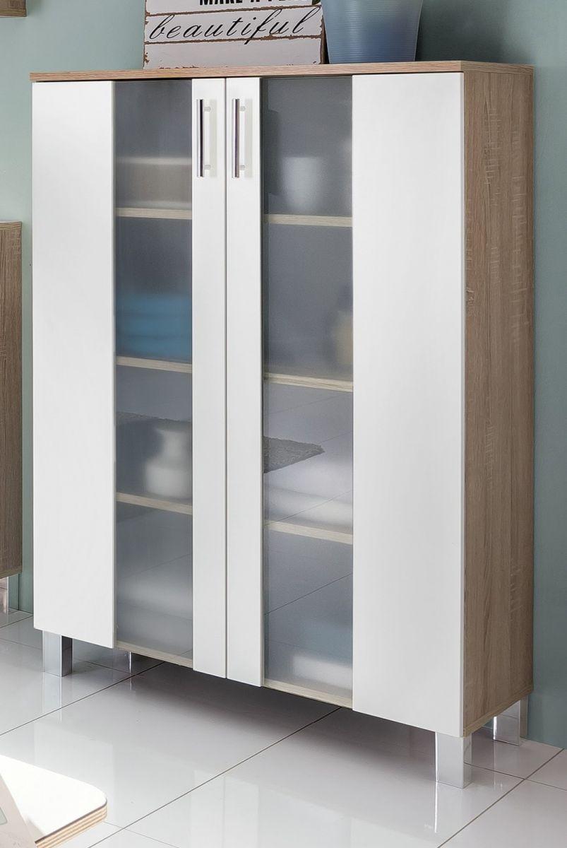 badschrank bad kommode badezimmer midi schrank in wei eiche 65 x 110 cm porto ebay. Black Bedroom Furniture Sets. Home Design Ideas