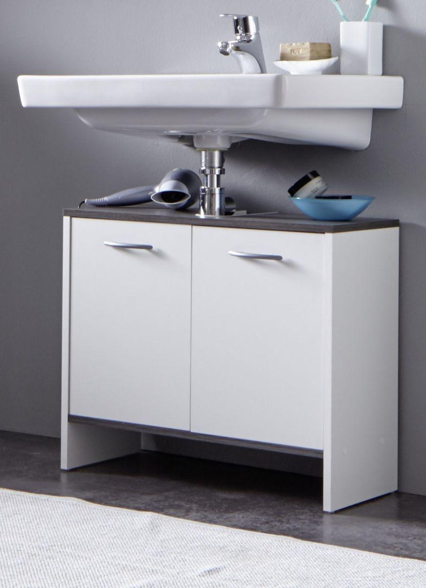 Waschbeckenunterschrank wei sardegna grau rauchsilber for Wasserabweisende folie bad