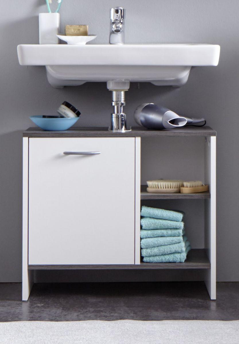 Waschbecken unterschrank wei grau bad schrank 60 for Wasserabweisende folie bad