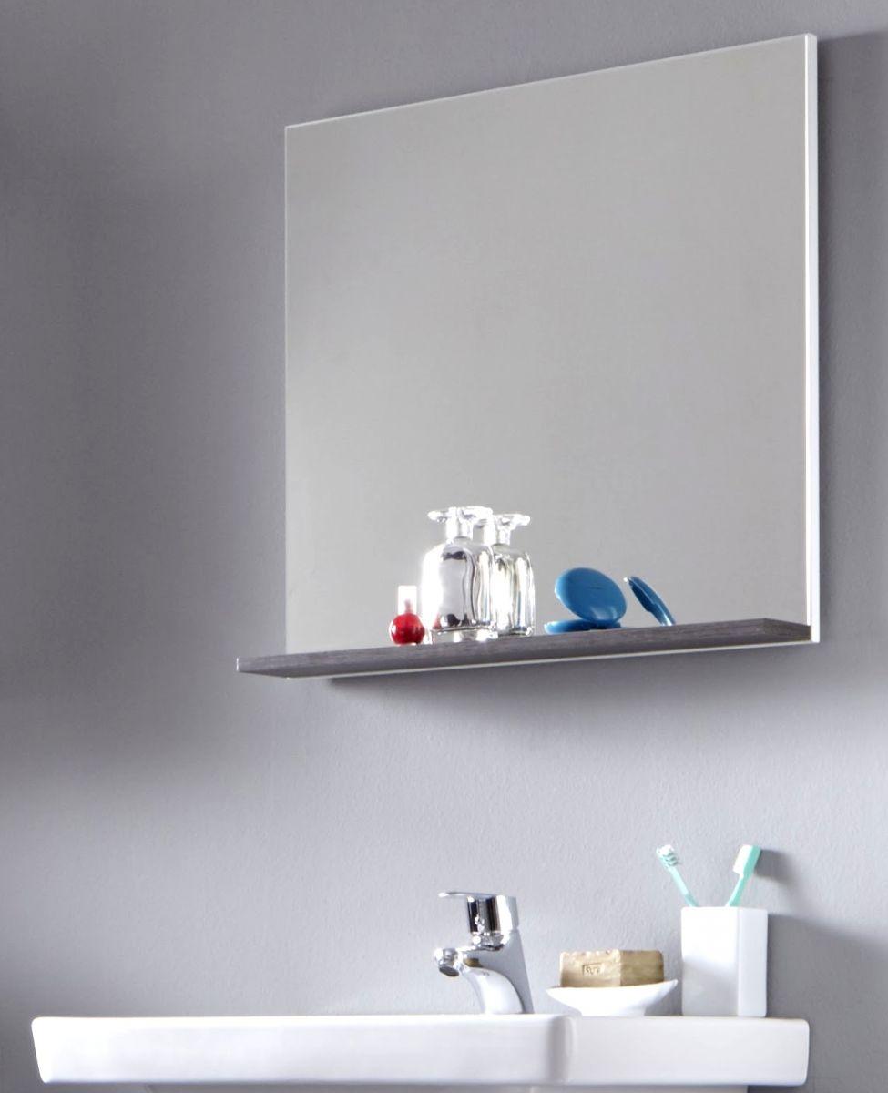 Badspiegel badezimmer bad spiegel wei sardegna grau mit for Spiegel ablage badezimmer