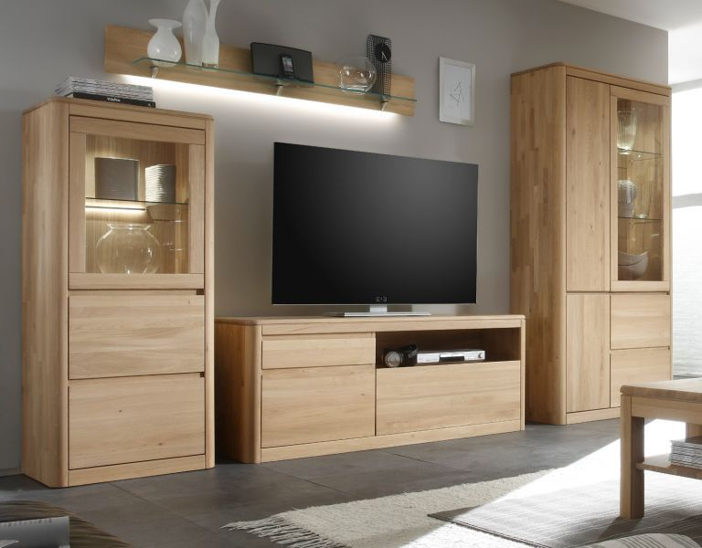 schrankwand massiv eiche bianco wohnzimmer wohnwand mit vitrinenschrank naturel ebay. Black Bedroom Furniture Sets. Home Design Ideas