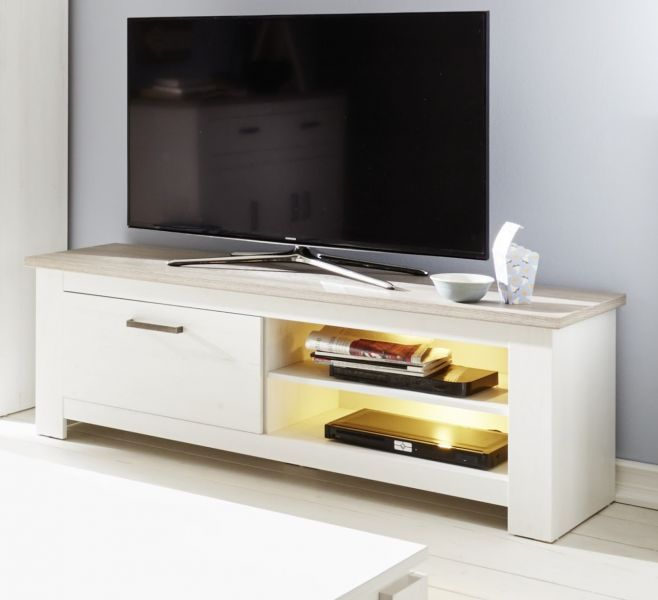 tv tisch lowboard wei pinie und eiche fernsehtisch landhaus lotte tv hifi m bel ebay. Black Bedroom Furniture Sets. Home Design Ideas