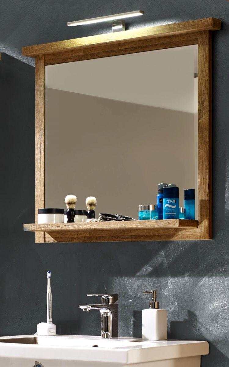 Bad spiegel 80 cm mit ablage eiche alteiche hell badspiegel wandspiegel canyon ebay - Badspiegel mit rahmen ...