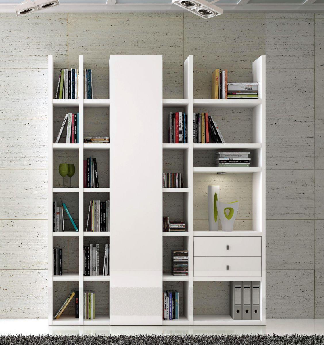 Wohnwand Bücherwand Dekor Lack weiß Hochglanz LED-Beleuchtung Breite 178 cm   Wohnzimmer > Schränke > Wohnwände   Guenstigeinrichten DE