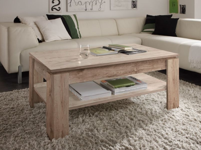 couchtisch wohnzimmer tisch eiche sand san remo beistelltisch holztisch ablage ebay. Black Bedroom Furniture Sets. Home Design Ideas