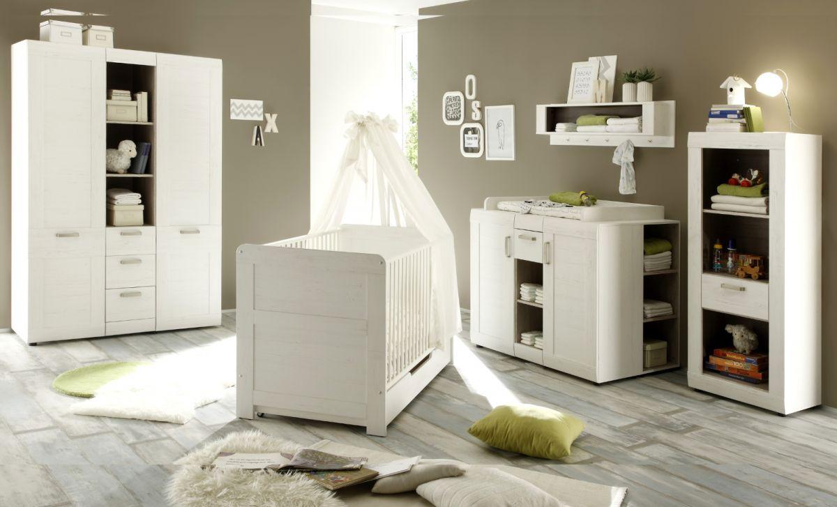 babyzimmer komplett set landi pinie weiß 6-tlg schrank bett