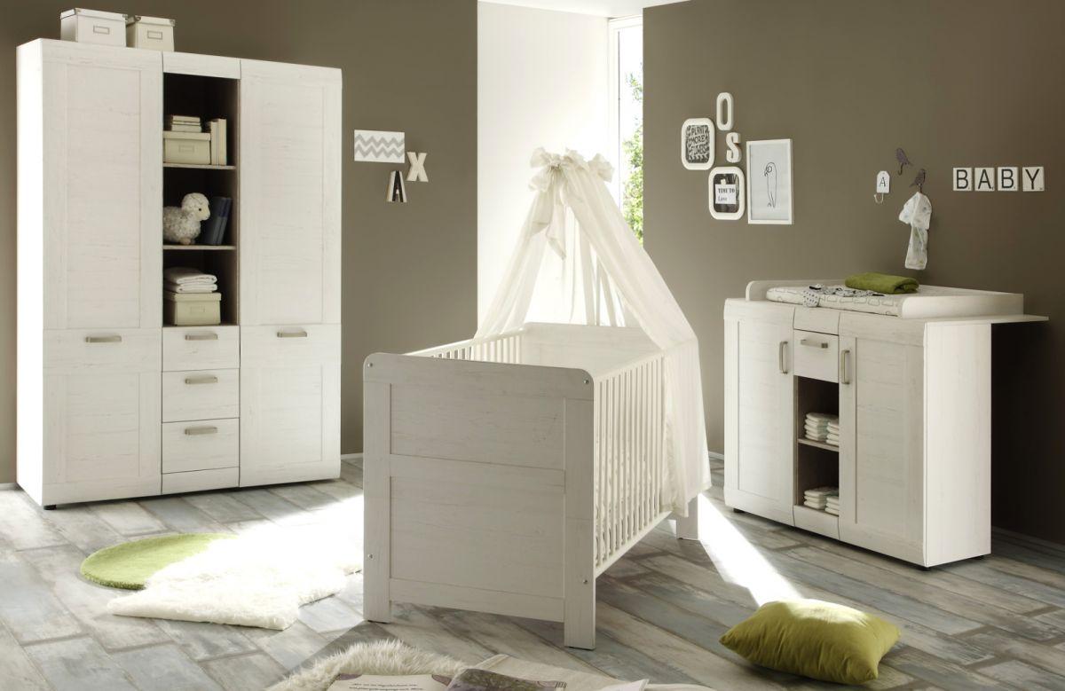 Babyzimmer komplett set landi pinie weiß 6 tlg schrank bett ...