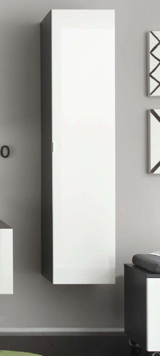 Trendteam Badezimmer Hochschrank hängend Beach weiß Hochglanz und grau 35 x 157 cm Spiegel innenseitig