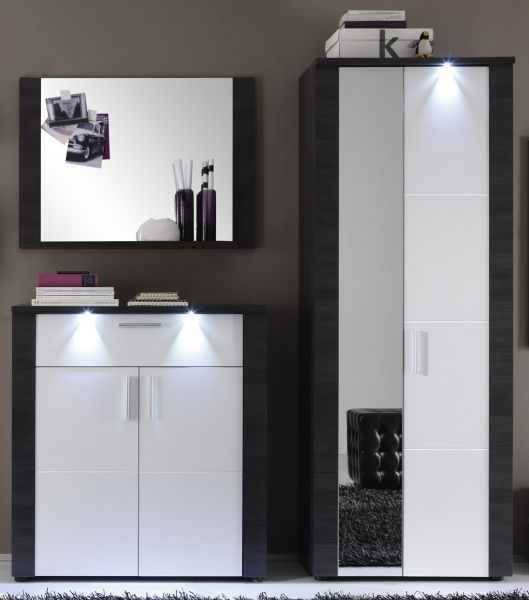 garderoben set garderobe wei esche grau flurgarderobe mit schuhschrank xpress ebay. Black Bedroom Furniture Sets. Home Design Ideas