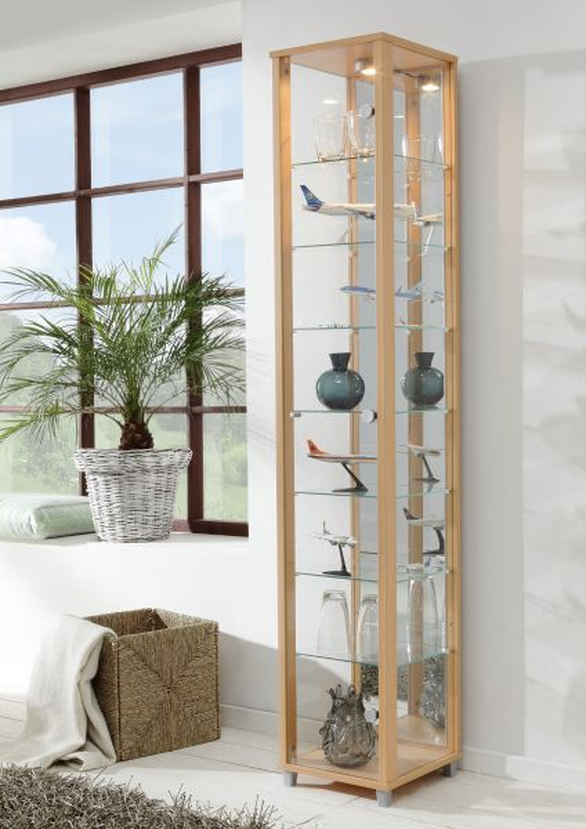 Ikea Groland Island Butcher Block ~ Vitrine Glasvitrine Buche mit Spiegelrückwand und Beleuchtung