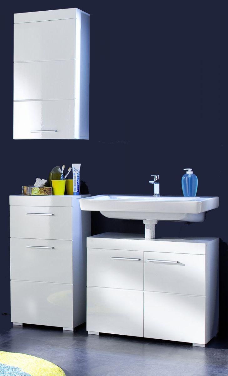 Trendteam Badmöbel Set Amanda Hochglanz weiß tiefgezogen 3-teilig Spiegelschrank + Unterschrank inkl. Beleuchtung