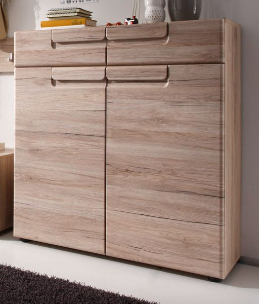 schuhschrank flur kommode garderobe eiche san remo highboard dielenschrank malea ebay. Black Bedroom Furniture Sets. Home Design Ideas