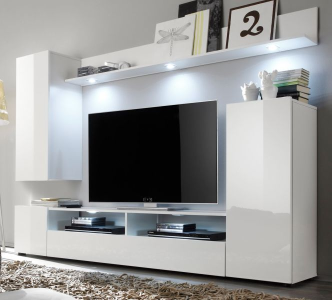 wohnwand wei hochglanz fernsehschrank wohnzimmer tv hifi m bel medienwand dos ebay. Black Bedroom Furniture Sets. Home Design Ideas