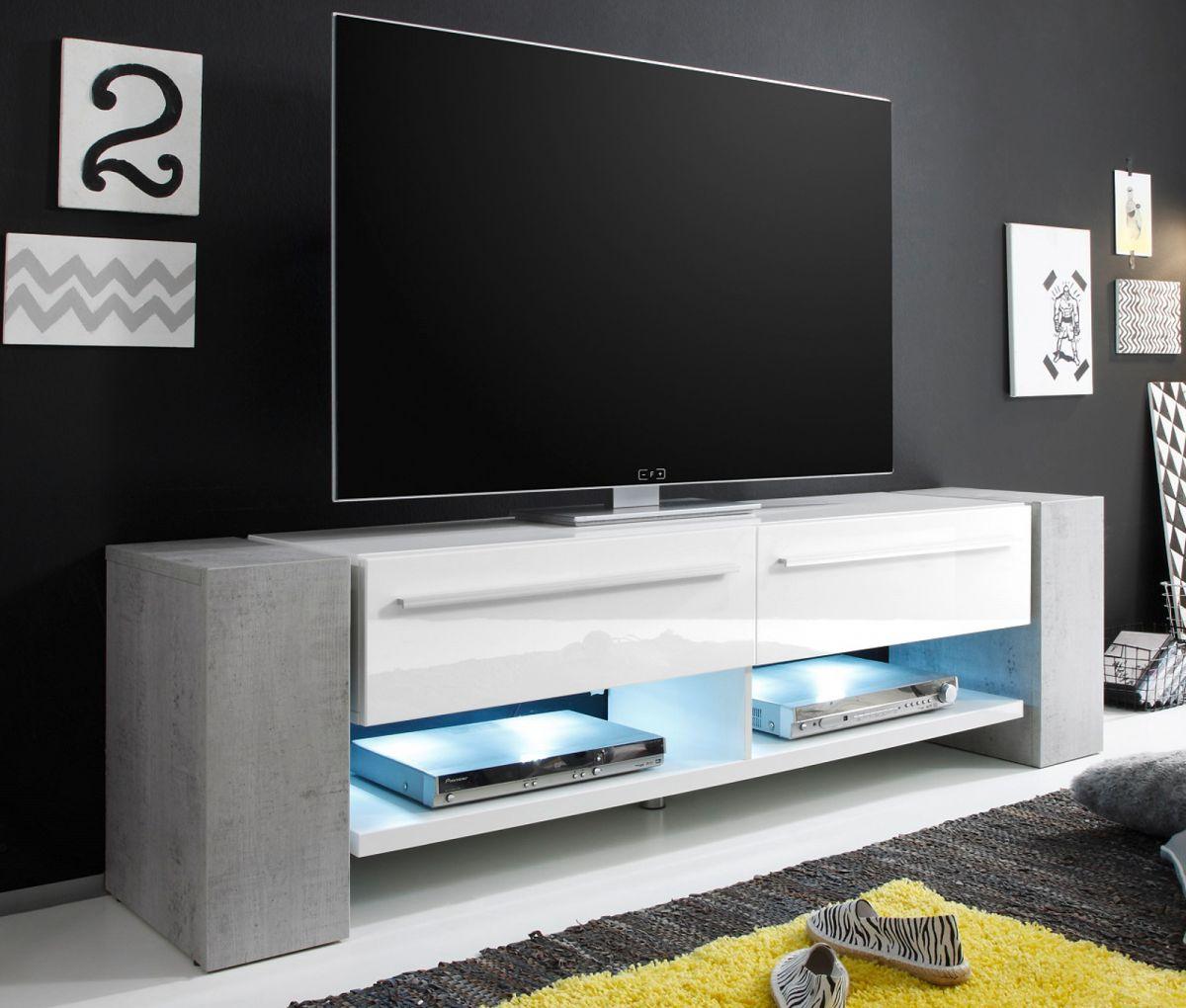 Lowboard Weiss Hochglanz  Preisvergleiche, Erfahrungsberichte und Kauf bei N -> Tv Lowboard Stoffbespannung