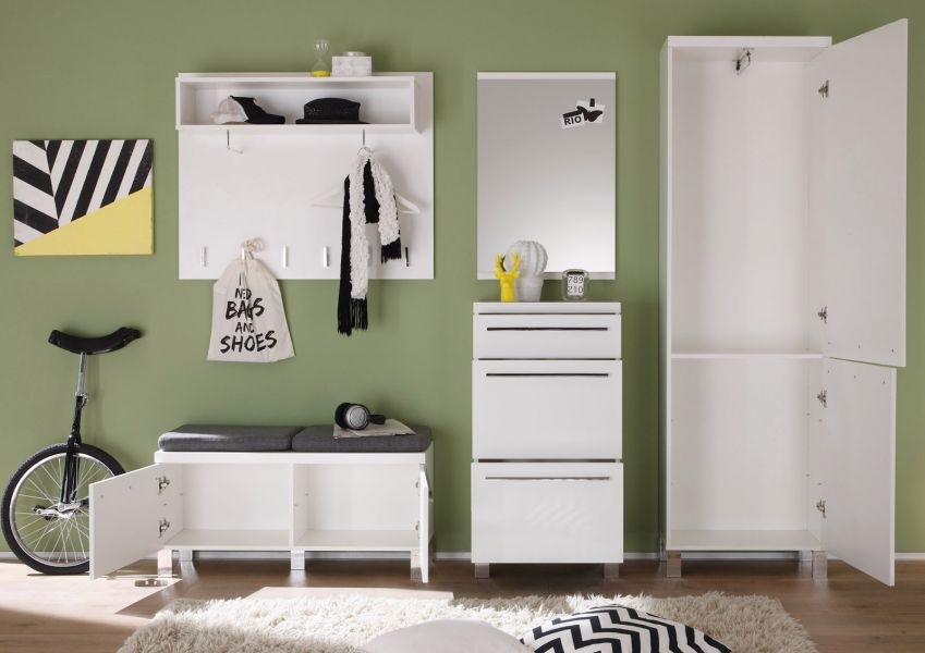 garderobe flurgarderobe garderobenkombination derby wei hochglanz 5 teilig kaufen bei. Black Bedroom Furniture Sets. Home Design Ideas