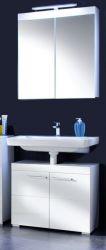 Badmöbel Set Amanda weiß hochglanz 2-teilig mit Spiegelschrank Waschbeckenunterschrank 60 cm