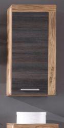 Badezimmer Hängeschrank Cancun in Nussbaum Satin und Touchwood dunkelbraun Badmöbel 36 x 79 cm Badschrank