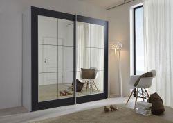 Schwebetürenschrank Kleiderschrank Dekor schwarz Spiegelglas Breite 202 cm