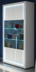 Vitrinenschrank Hochschrank Starlight weiß Hochglanz mit Rillenoptik inklusive LED-Beleuchtung 90x204 cm