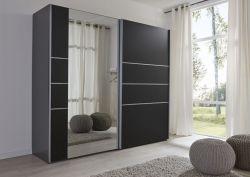 Schwebetürenschrank Kleiderschrank Dekor schwarz Spiegel Breite 202 cm