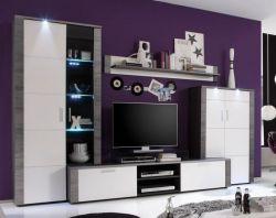 Wohnwand Xpress Esche grau weiß 4-teilig 308 x 197 cm inkl. LED Beleuchtung