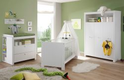 Babyzimmer komplett Set Olivia weiß 5-teilig Kleiderschrank Babybett Wickelkommode und 2 Regale