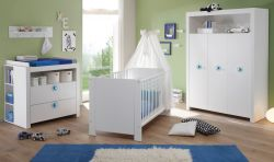 Babyzimmer Olivia in weiß und blau komplett Set 5-teilig mit Kleiderschrank Babybett Wickelkommode mit Regal und Wandregal