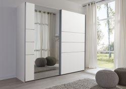 Schwebetürenschrank Kleiderschrank Dekor weiß Spiegel Breite 236 cm
