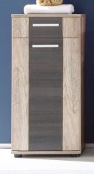 Badezimmer Unterschrank Star in Monument Eiche hell mit Touchwood dunkel Badmöbel 40 x 90 cm Kommode