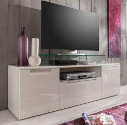 TV-Unterteil Lowboard Alu Line Hochglanz weiß tiefgezogen 160 x 52 cm FSC zertifiziert