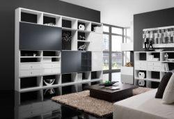 Wohnwand Bücherwand MDor Lack weiß Hochglanz mit Schiebetüren Hochglanz schwarz