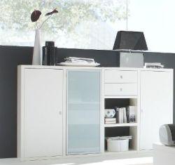Sideboard Akten- und Büchersideboard Lack weiß matt