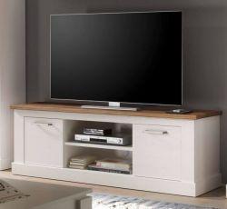 TV-Lowboard Toronto in Anderson Pinie weiß mit Nussbaum Satin TV-Unterteil 160 x 60 cm