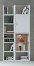 Bücherregal Bücherwand MDor Dekor Lack weiß Hochglanz Eiche Natur LED-Beleuchtung Breite 108 cm