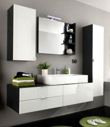 Badmöbel Set Beach Waschtisch mit Waschbecken Hochglanz weiß und grau Badkombination 5-teilig