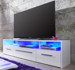 TV-Unterteil Lowboard Harley weiß Glanz mit RGB LED Beleuchtung 150 x 40 cm