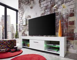 Lowboard TV Unterteil Rom weiß glänzend mit RGB LED Beleuchtung 160 x 45 cm