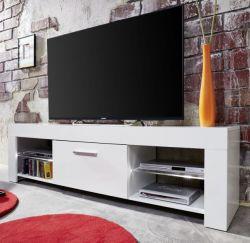 TV Lowboard Rom weiß Glanz Fernsehtisch mit Farbwechsel Beleuchtung 160 x 45 cm