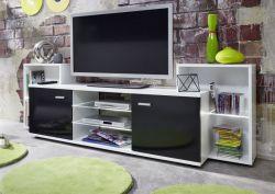 TV Hifi Lowboard Xenon weiß schwarz Glanz Mediencenter inkl. LED mit Farbwahl 190 cm