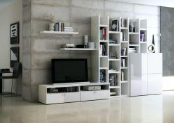 Wohnwand Bücherwand MDor Lack weiß Hochglanz mit TV-Unterteil und Kommode