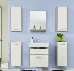 Badmöbel Set Badezimmer Splash 6 teilig weiß mit Industrie Beton grau 140 x 185 cm hängend