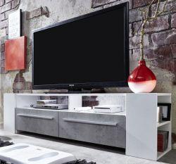 TV Unterteil Fernsehschrank Medium weiß Glanz mit Industrie Beton RGB LED Beleuchtung 155 x 40 cm