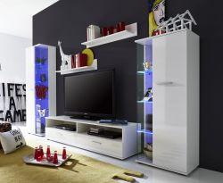 Wohnwand Anbauwand Glossy2 weiß glänzend LED RGB Beleuchtung 279 x 166 cm