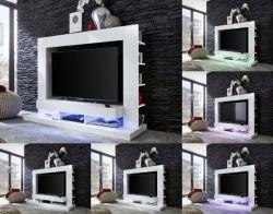 Mediawand Wohnwand Cyneplex weiss glänzend 164 x 124 cm LED Farbwechsel Beleuchtung