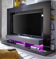 TV Schrank Mediawand Cyneplex schwarz grau Glanz 164 x 124 cm LED RGB Beleuchtung