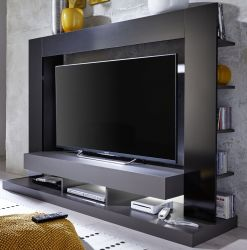 Mediawand Cyneplex in schwarz und grau Glanz TV-Schrank 164 cm TV bis 55 optional mit LED Beleuchtung