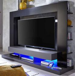Mediawand Fernsehschrank Cyneplex schwarz grau Glanz Wohnwand mit 164 x 124 cm